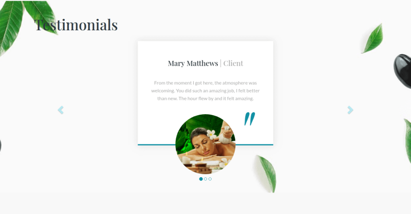 Section Testimonials in beauty salon website template