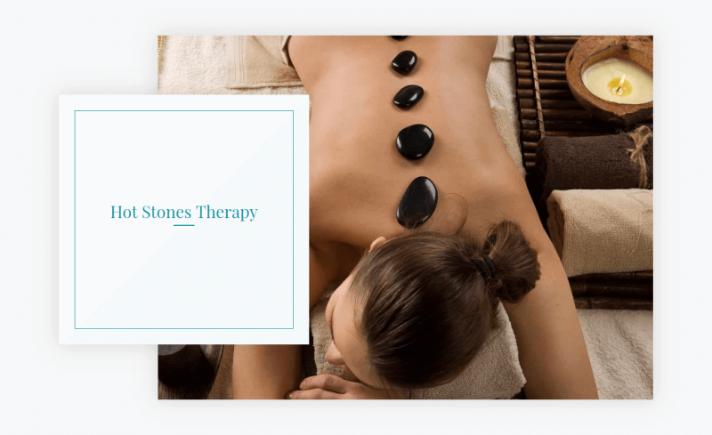 Spa services - Section Hot stones therapy in beauty salon website template