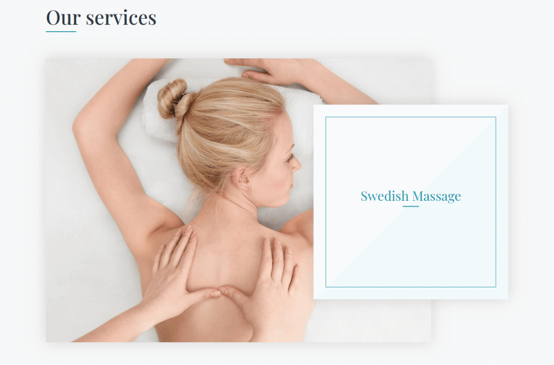 Spa services - Section Swedish Massage of Relax, beauty salon website template
