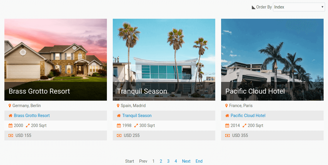 Joomla content construction kit - All houses vertical layout - Make Booking Real Estate portal