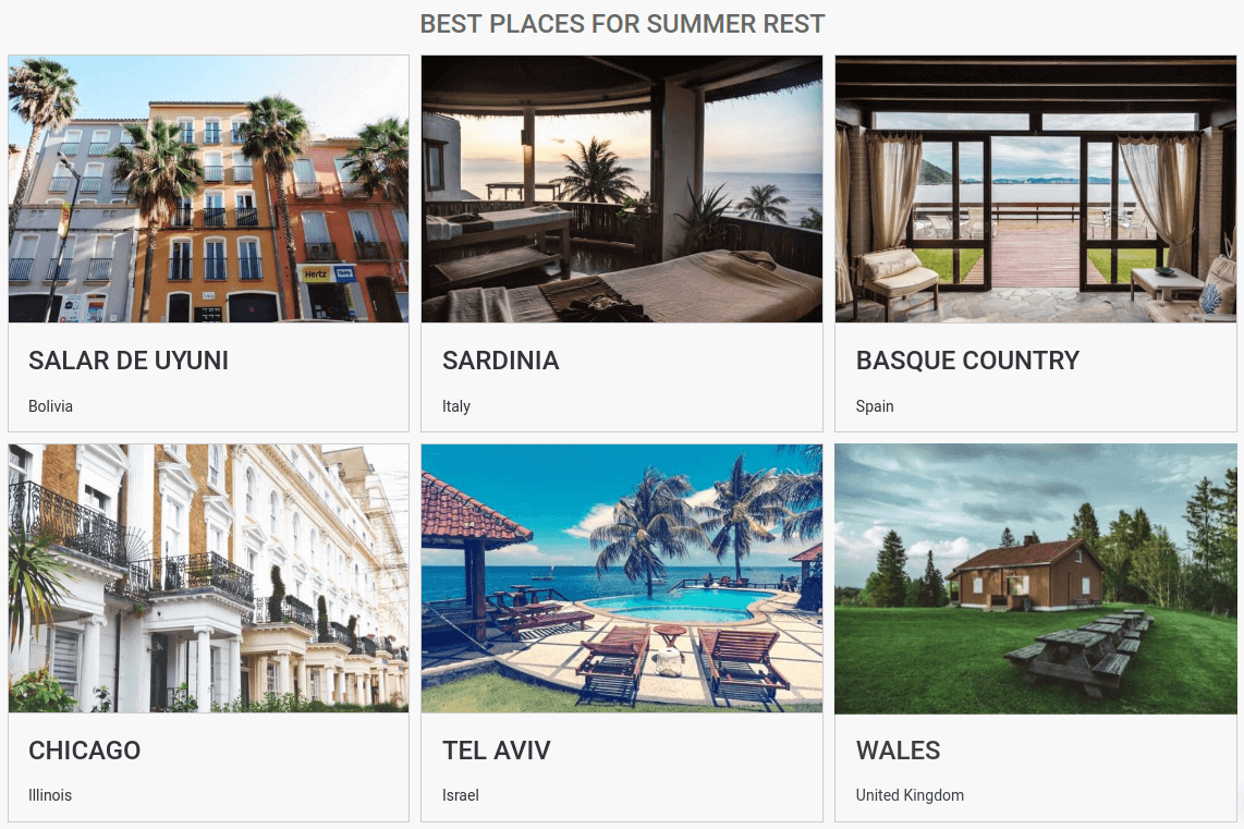 Joomla content construction kit - Images gallery, best places for summer rest view - Creation Booking Properties website