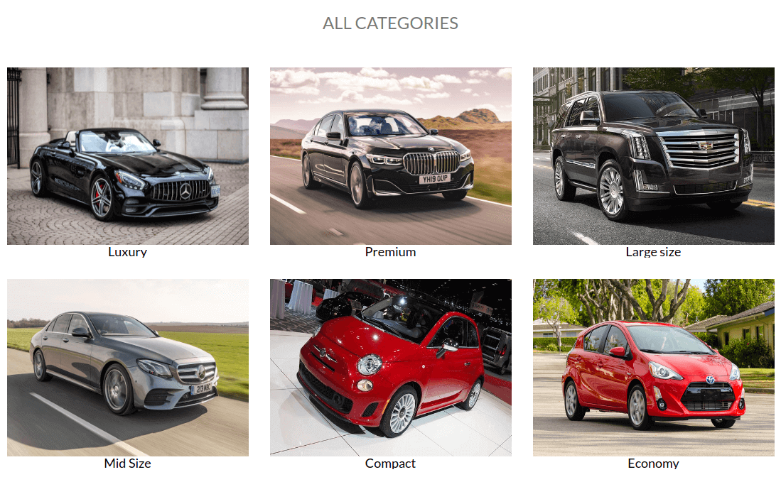 Show all categories of cars in Car rental website template - vehicle booking