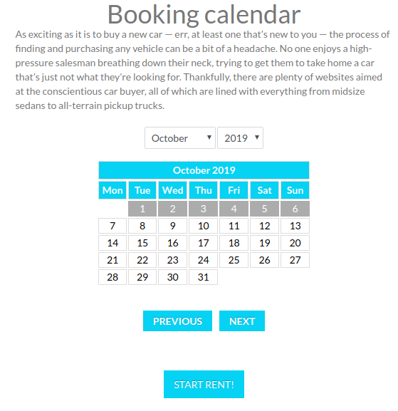Joomla content construction kit - Booking calendar - Creation Auto website