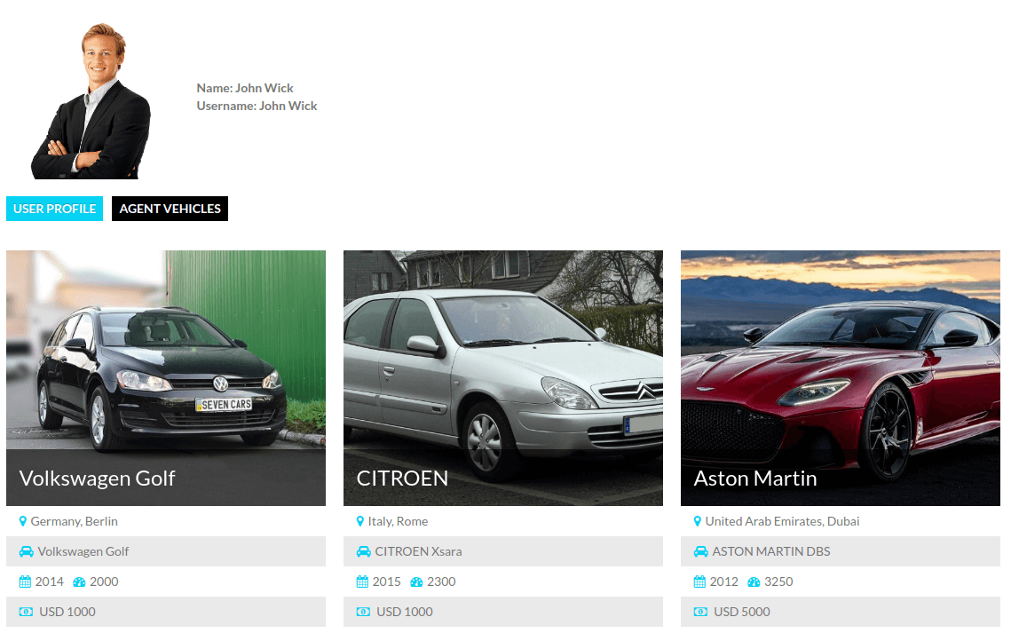 Users Membership, agent profile and his cars view - Make Booking Auto website with help OS CCK