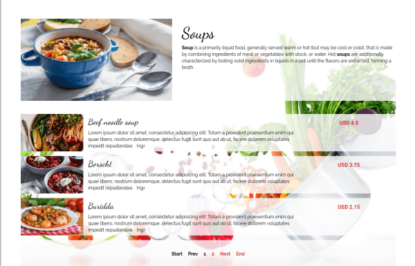 Gourmet - CCK Restaurant Booking, Joomla Template, Dish category, CCK show category of instances