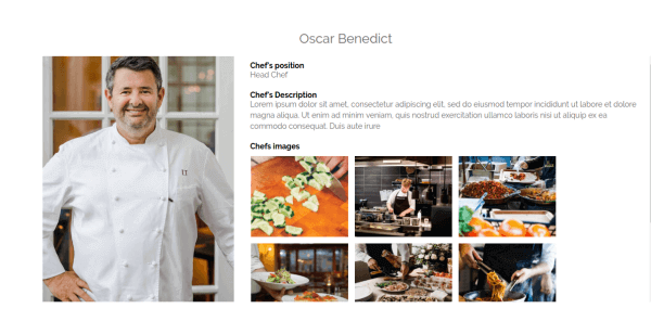 Gourmet - CCK Restaurant Booking, Joomla Template, One Chef, CCK show one instance