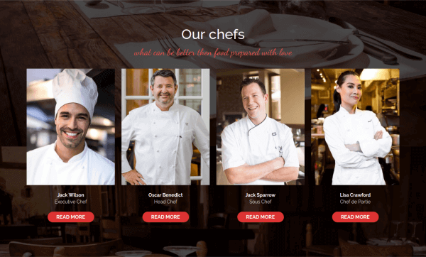 Gourmet - CCK Restaurant Booking, Joomla Template, Ours Chefs, CCK show all instances