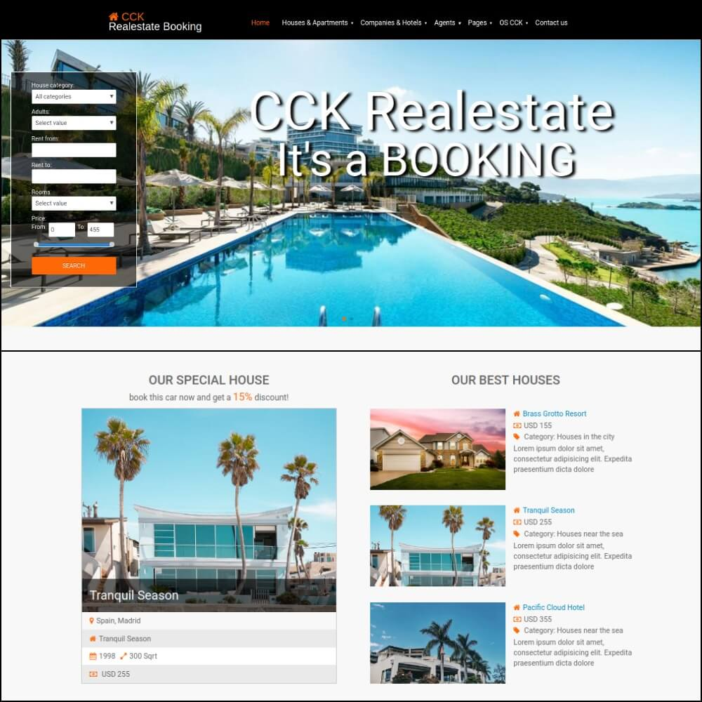 Real Estate website template build on CCK booking website builder