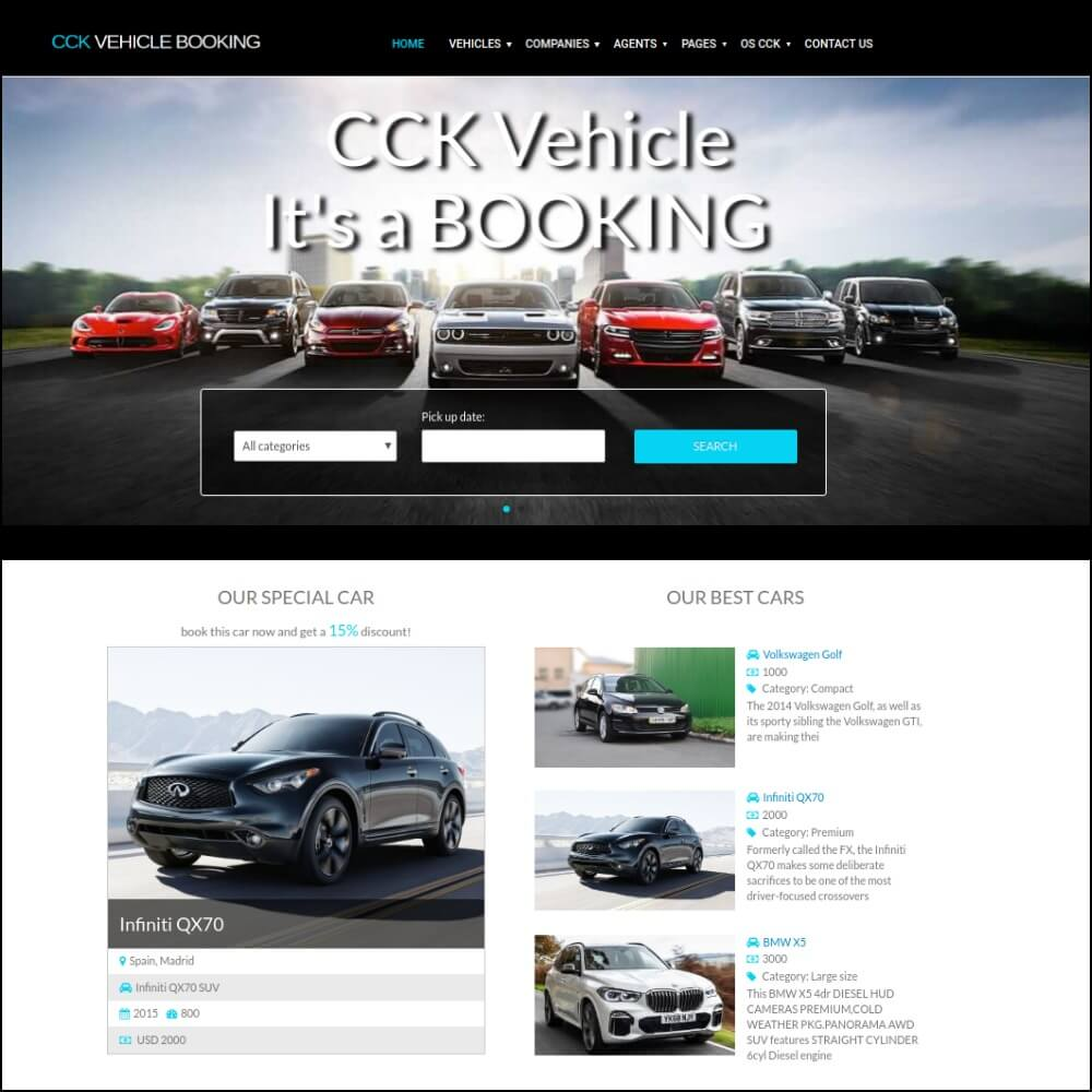 CCK vehicle booking build on CCK booking website builder