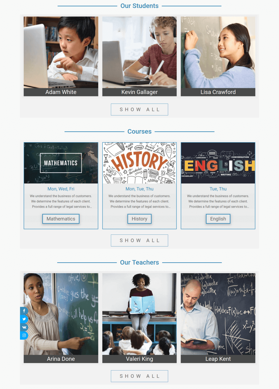 educationstreem, Education joomla template, courses, teachers, students