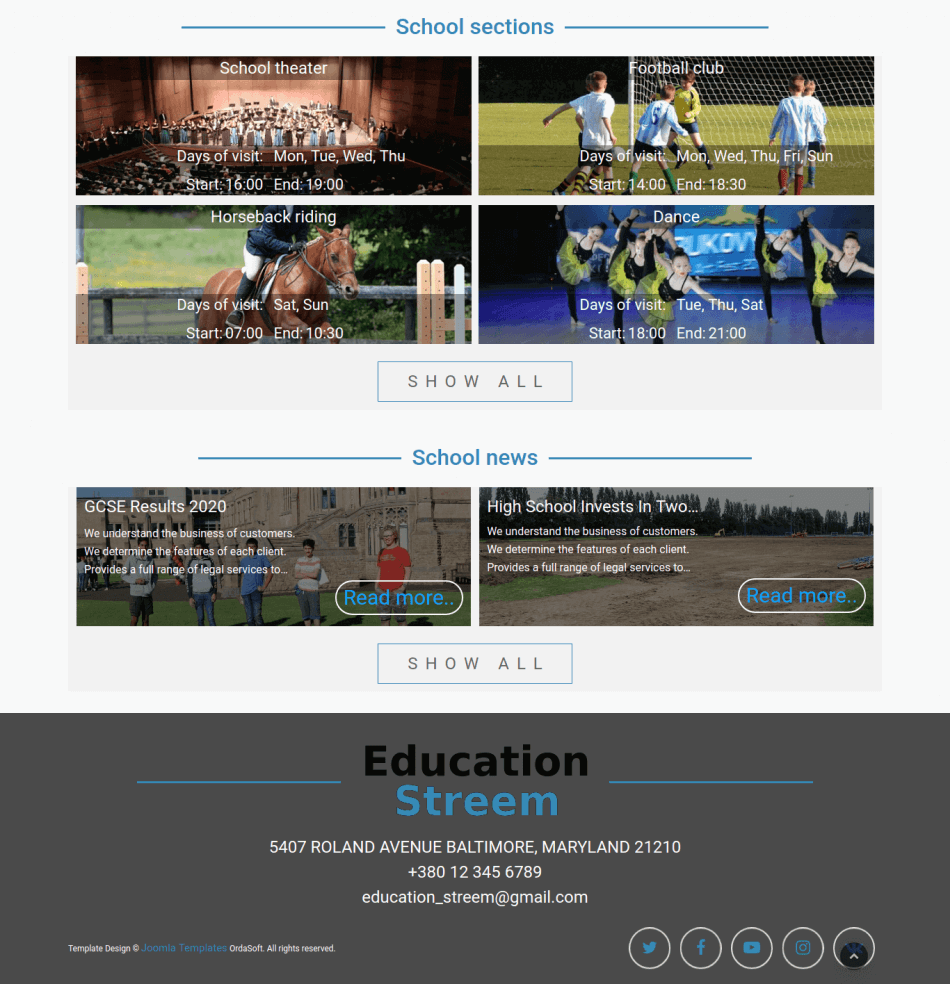 educationstreem, Education website template, section news