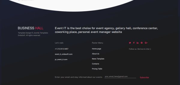 Event IT - CCK Event template, Joomla Template, footer wirh menu