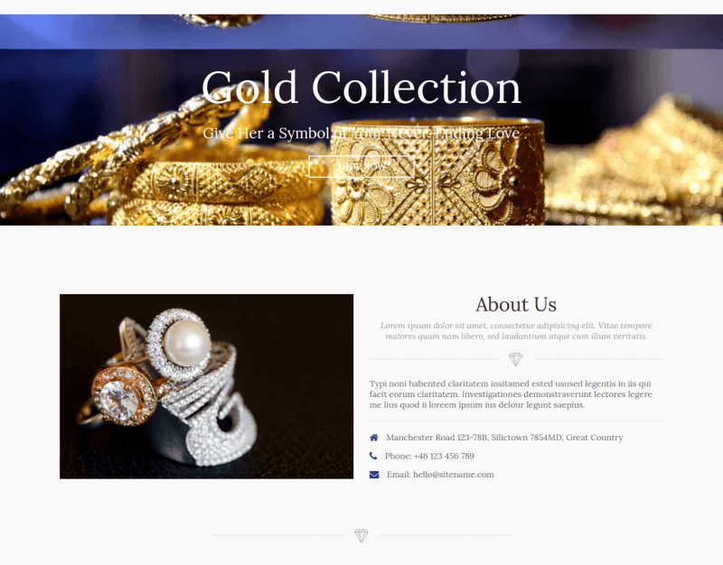 jewelry_joomla ecommerce template section about us