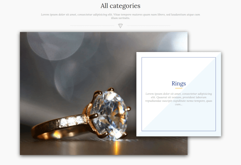 jewelry joomla ecommerce template section all categories rings