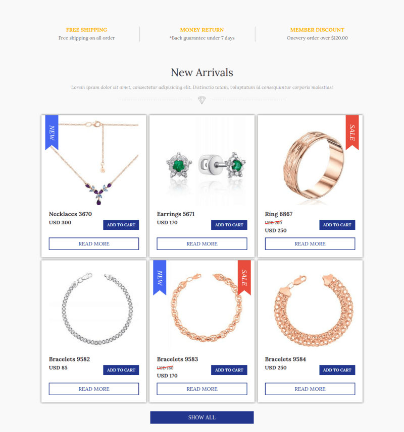 jewelry_joomla ecommerce template section new arrivals