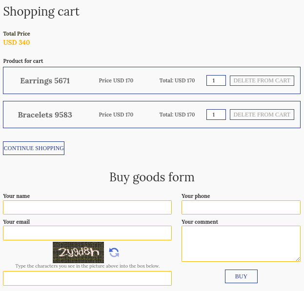 comfortable shopping cart for create jewelry website