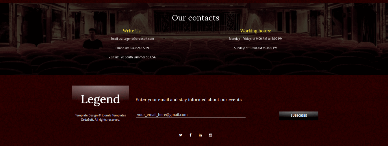 theater website template contacts