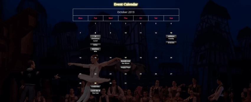 theater website template calendar