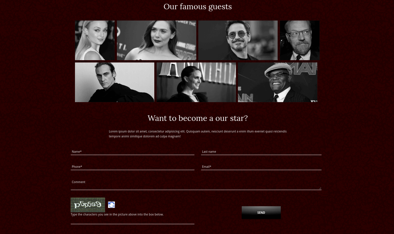 event website template famous guests