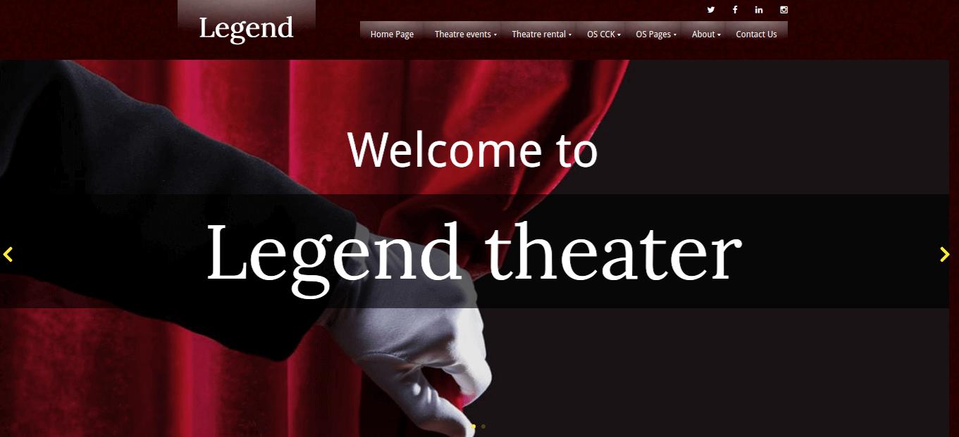 theater website template home menu