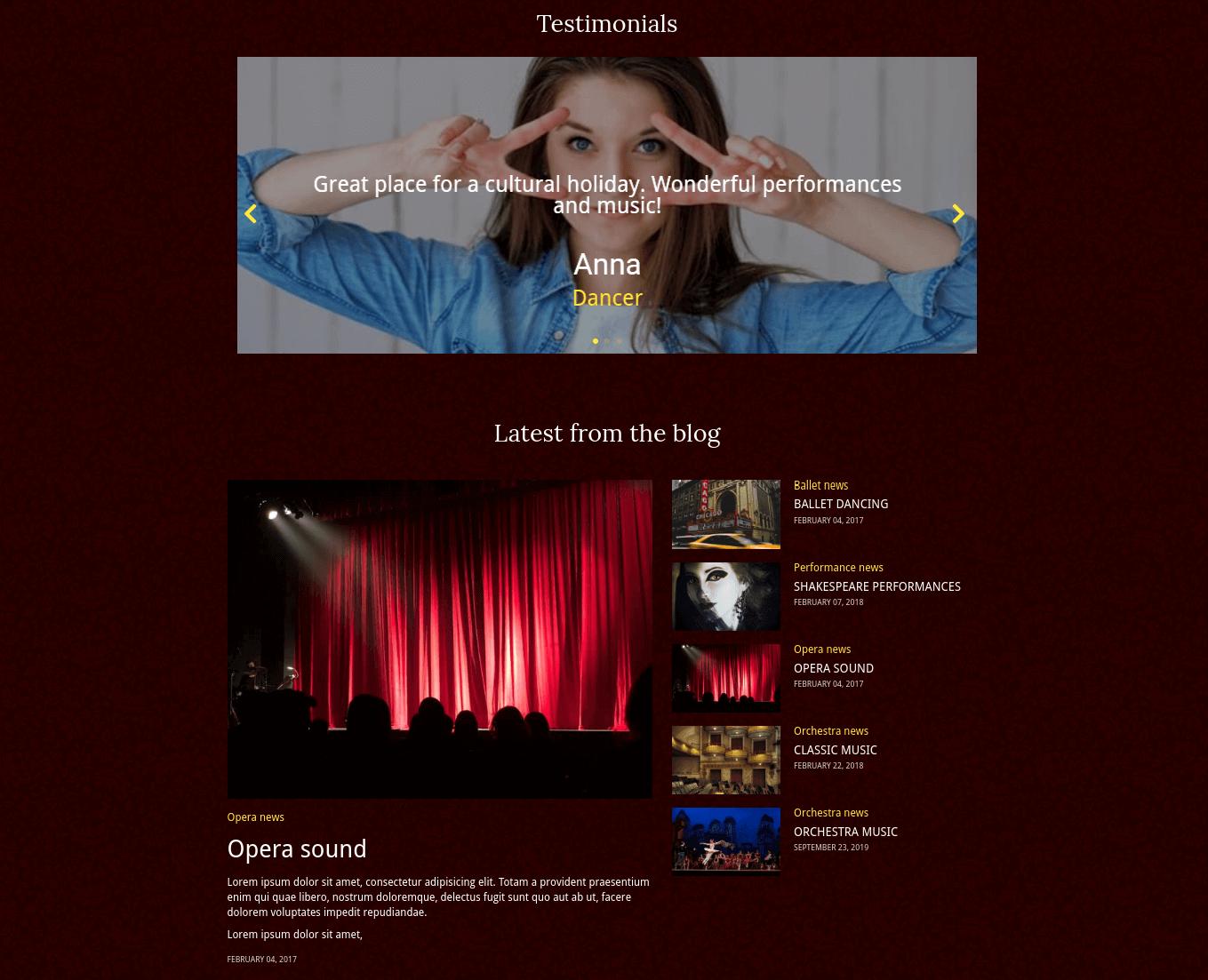 theater website template testimonials and blog
