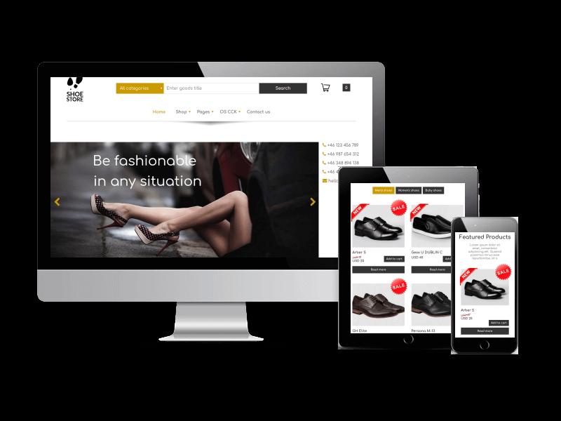 free joomla template - shoe store