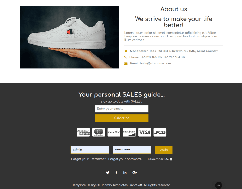 Free ecommerce template shoe store section contact form