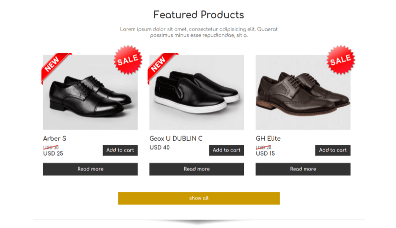 Free theme shoe store featured products