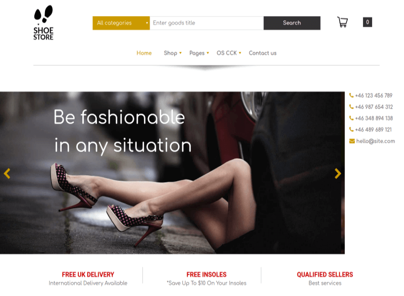 Shoe Store - Free eCommerce template main page