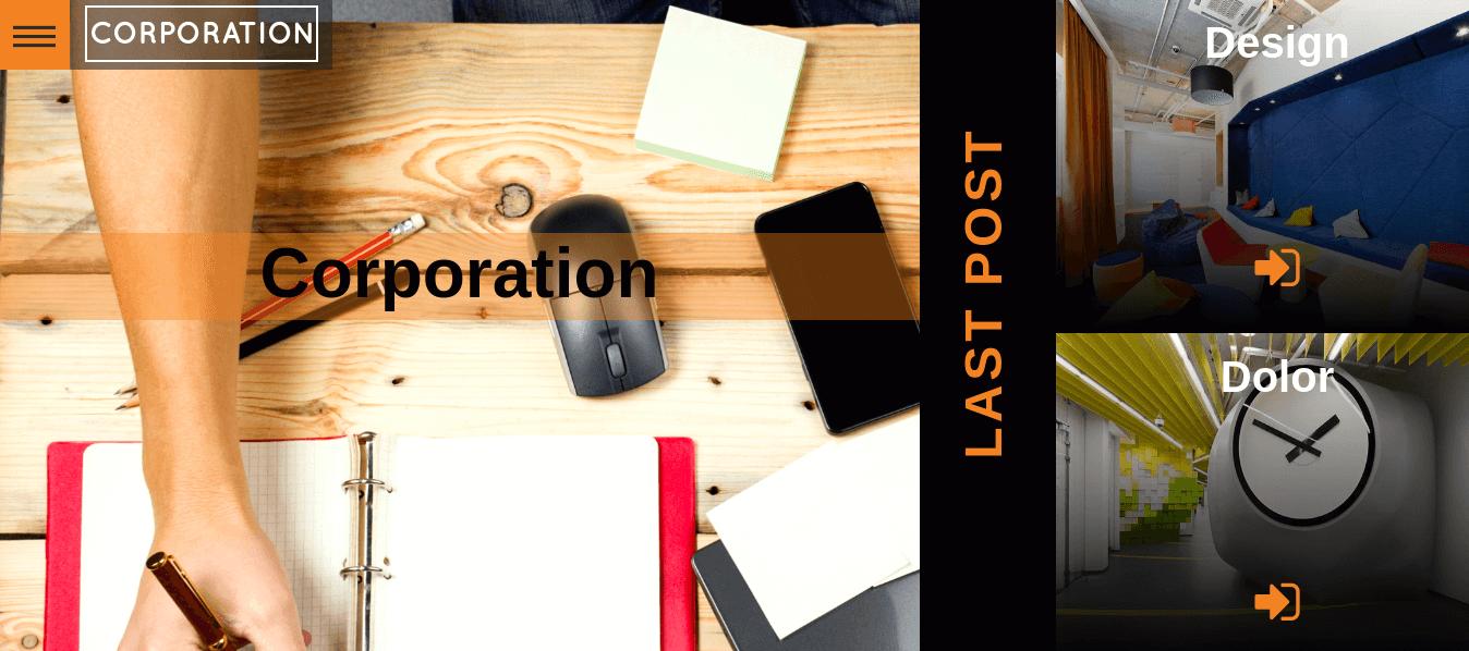 Corporation Wordpress Theme main screen