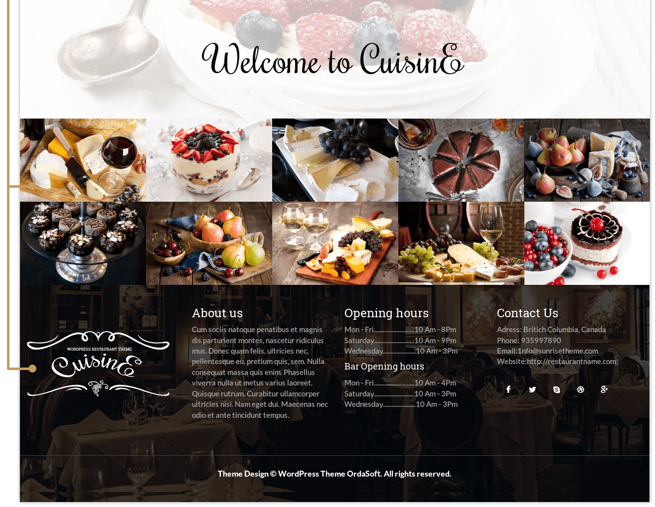 Cuisine - WordPress restaurant theme, footer