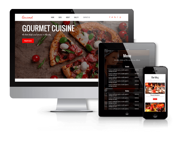 Gourmet, WordPress restaurant theme