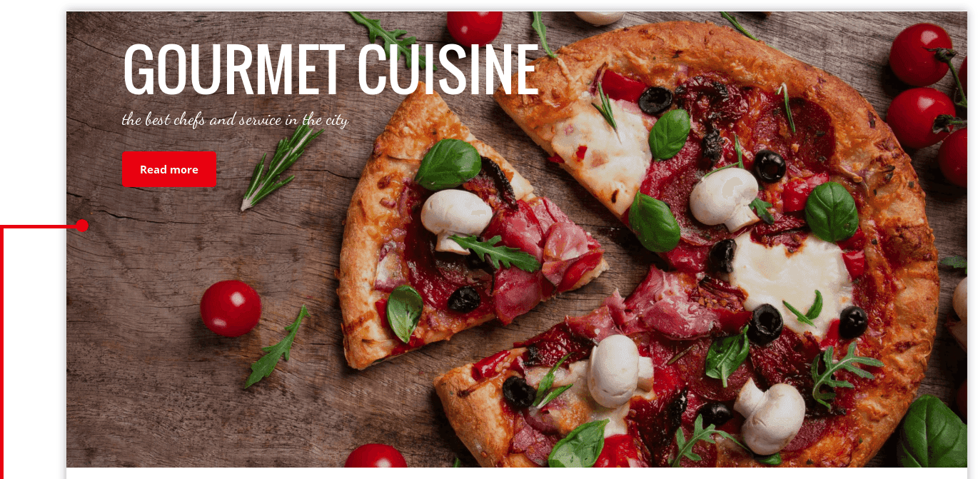 Slideshow of WordPress restaurant theme Gourmet