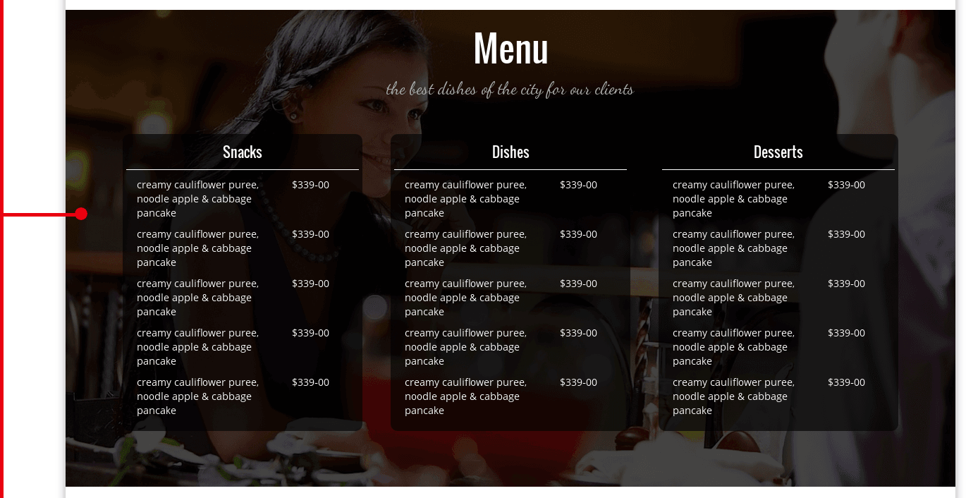 Menu o Restaurant theme Gourmet