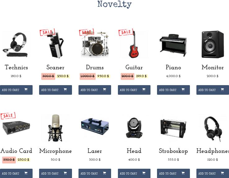 Music Store WordPress Theme shop