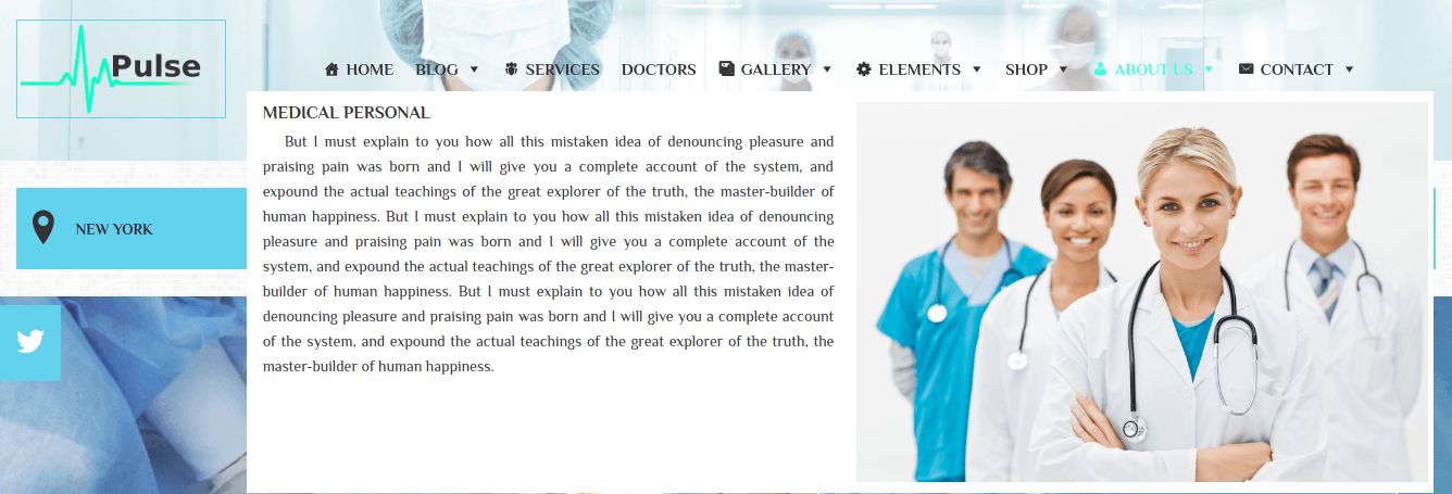 Medical WordPress Theme Mega Menu