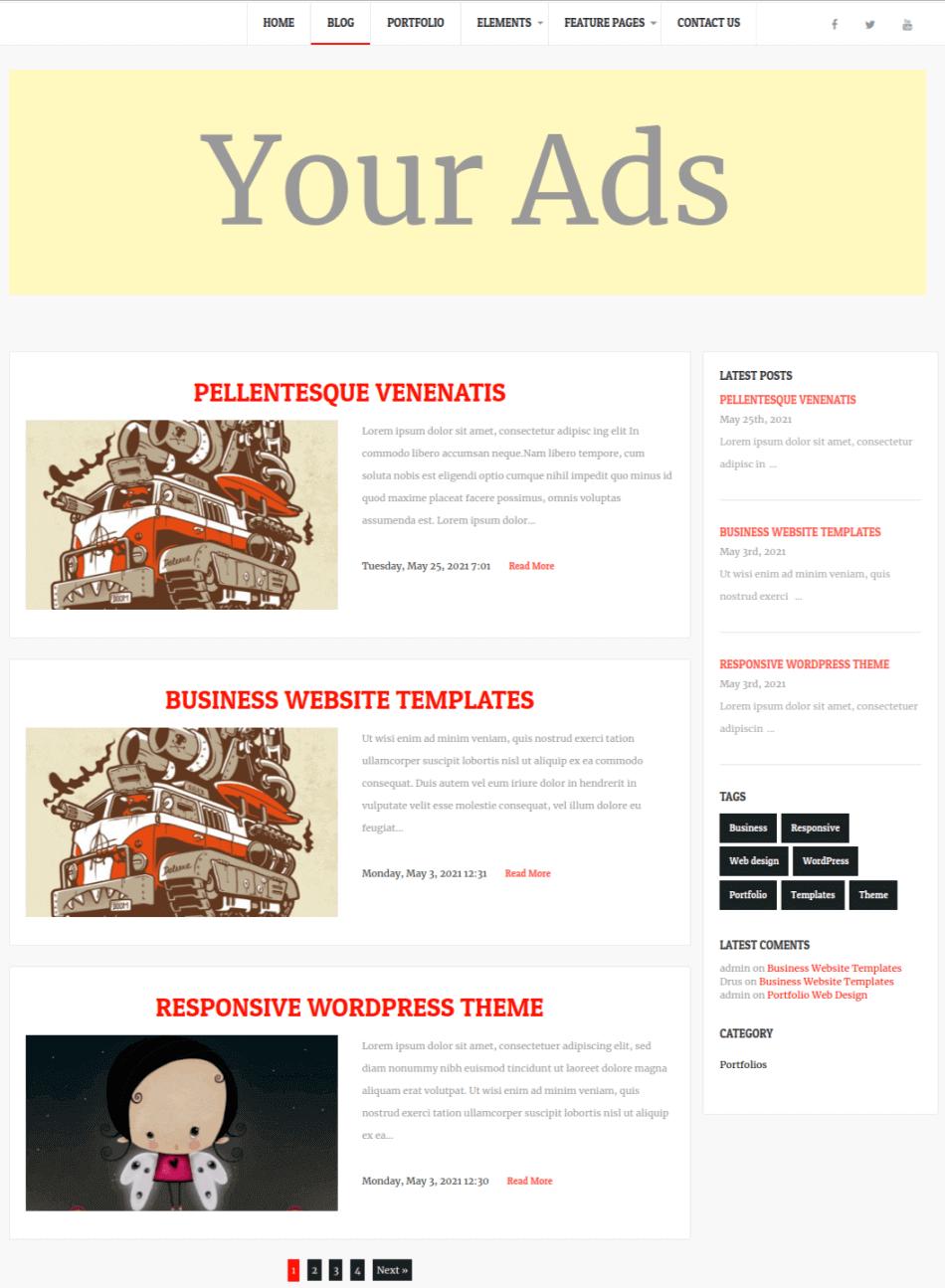 simple wordpress theme, blog page