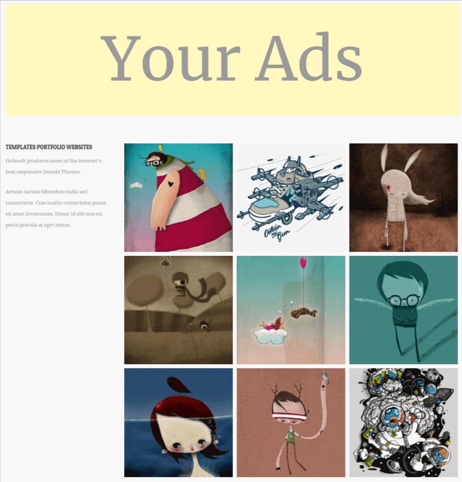 simple wordpress theme, portfolio page