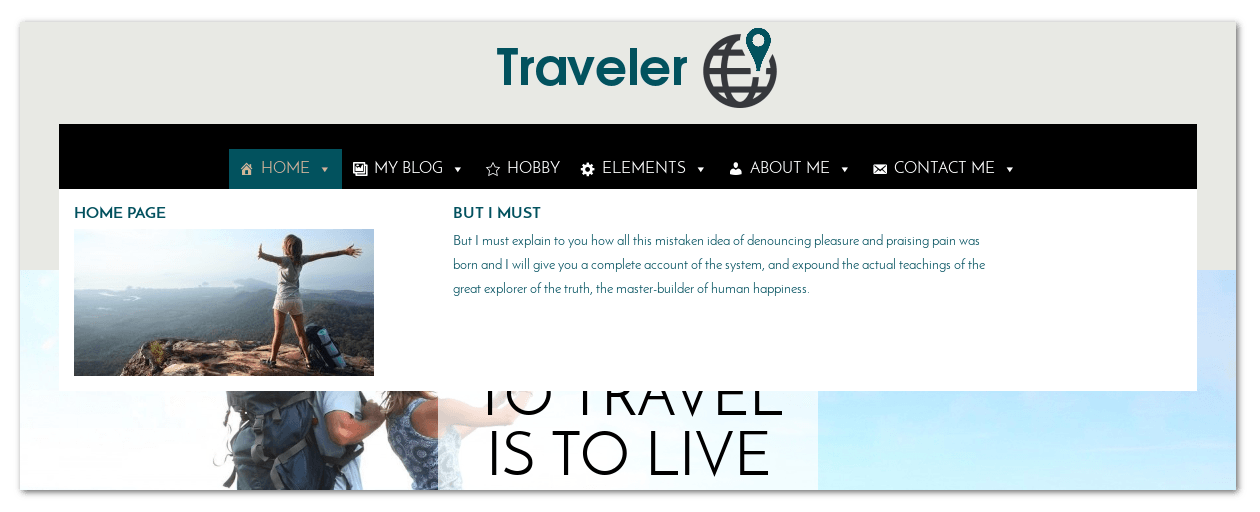 Megamenu of Free WordPress Blog theme Traveler