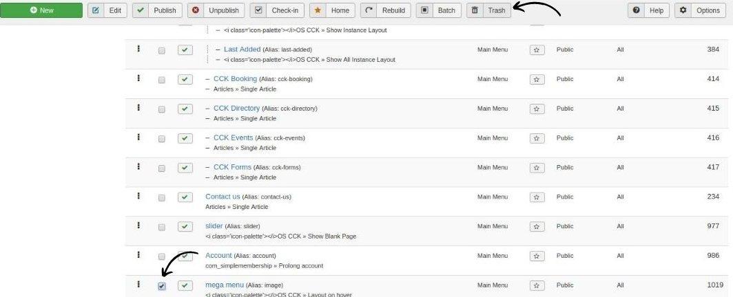 Joomla mega menu delete element in joomla website builder