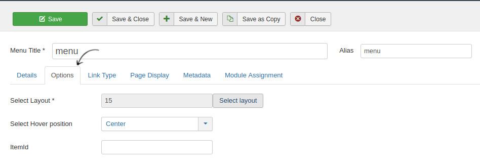 Joomla mega menu options in joomla website builder