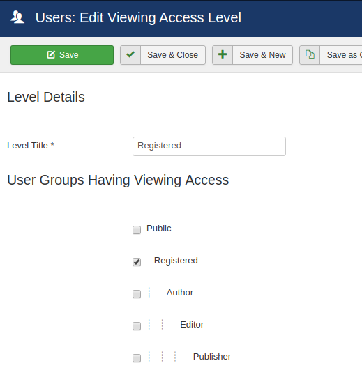 edit joomla access level