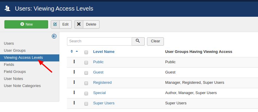 management joomla access levels