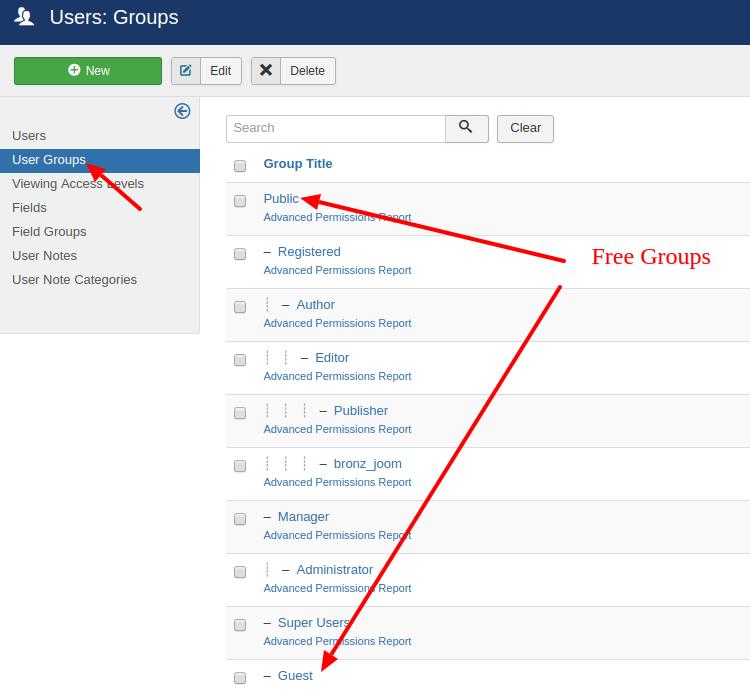 management joomla user groups
