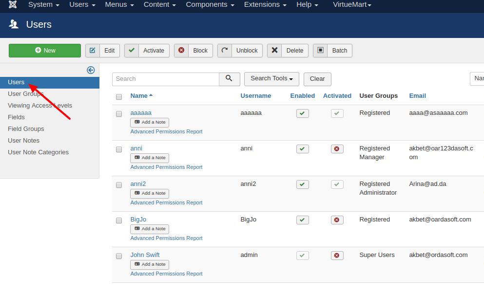 management joomla users