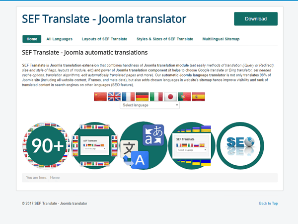Demo of SEF Translate Joomla extension for automatic translation
