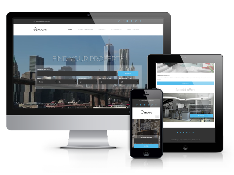 Empire, responsive real estate Joomla template, 2019