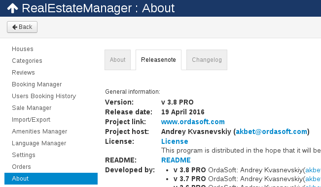 New update algorithm in property management software for Joomla