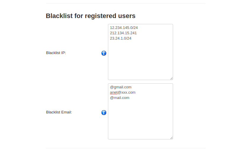 blacklist by ip and email for userswho register
