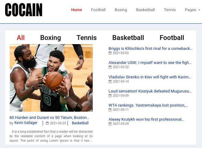 Sport Website Template news